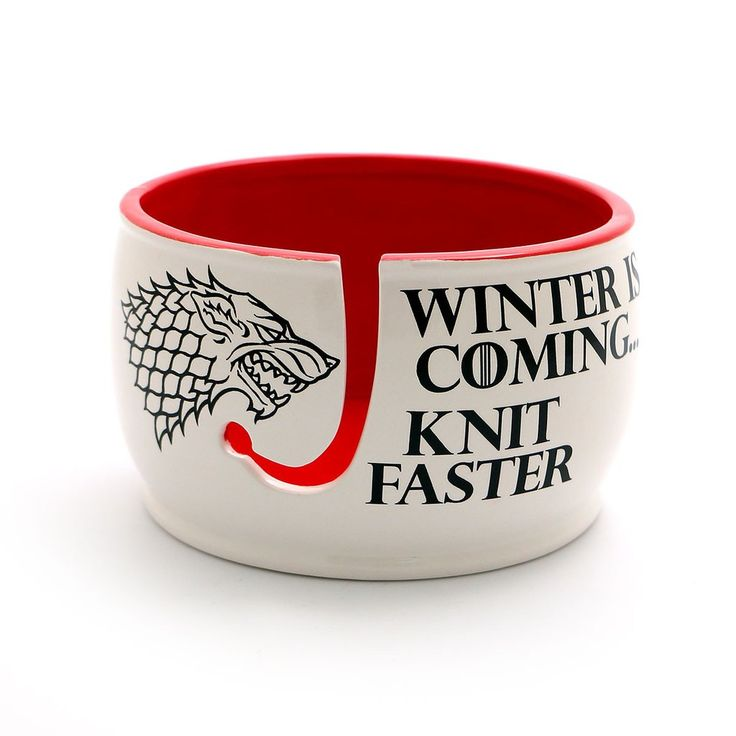 Game of Thrones,Winter is coming knit faster yarn bowl, GOT fan art, gift for knitting crochet knit bowlJon Snow may know nothing- especially about knitting- bu