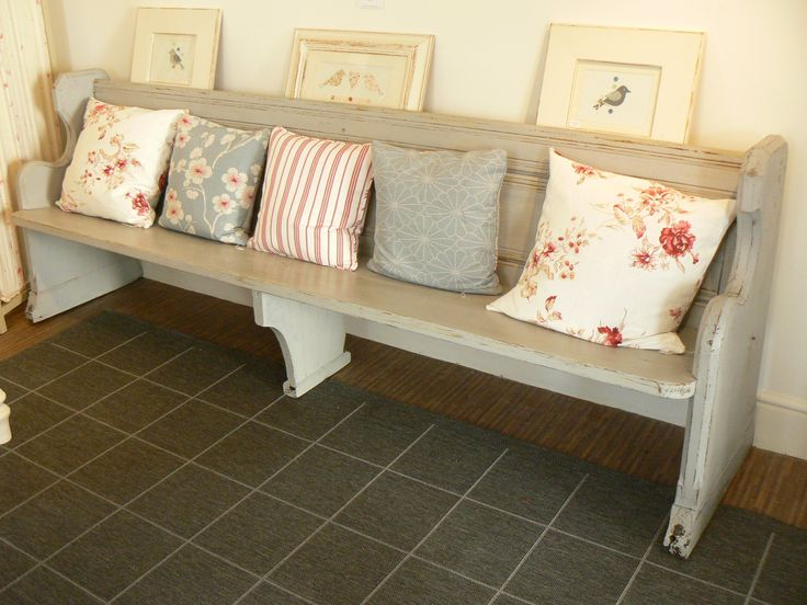 """Like the pictures, are they sitting in the bookshelves in the back?  Antique Church Pew/Bench Painted in Annie Sloan """"Paris Grey"""""""