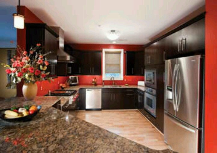 My Kitchen Will Have Red Walls But With Dark Brown Cabinets Instead Of Black Dream House In 2018
