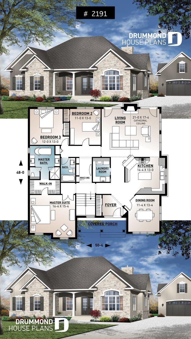 Ranch Inspirierter Bungalow Mit Domdecke Grosser Kuche Grossem Herrenanzug Bungalow Haus Design Plane Haus Plane