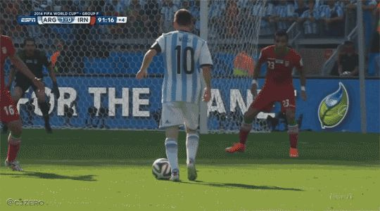 GIF: Bend it like Messi - see the reaction of the Iranian def... on Twitpic
