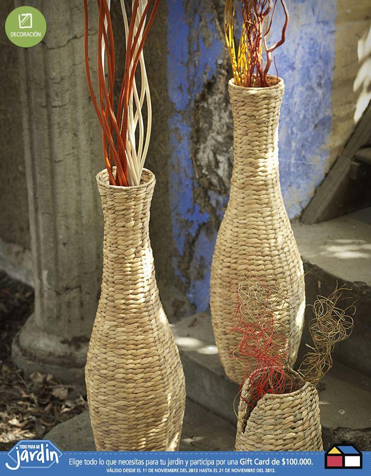 Botellas de mimbre #Jardin #Todoparamijardin. Unas botellitas para darle toda la onda a mi jardín
