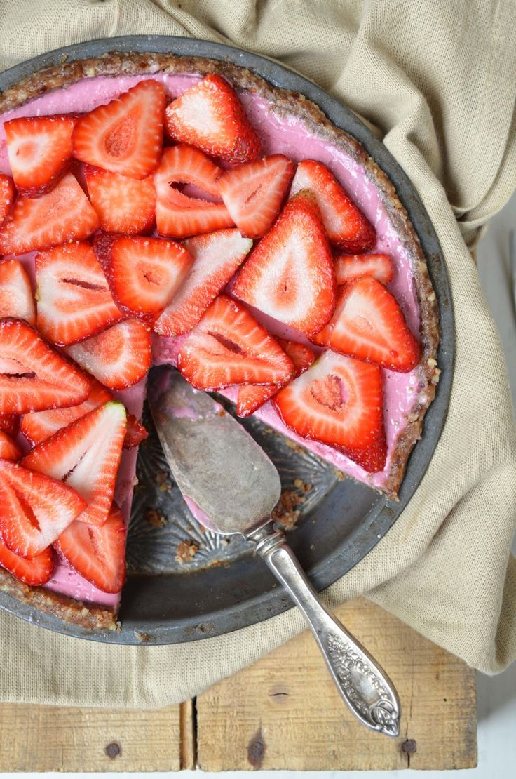 Raw Strawberry Pie from Plant-Powered Kitchen (recipe from the Let Them Eat Vegan cookbook). Includes strawberries, pecans, walnuts, cashews and dates. Vegan, raw, gluten free, soy free and refined sugar free.