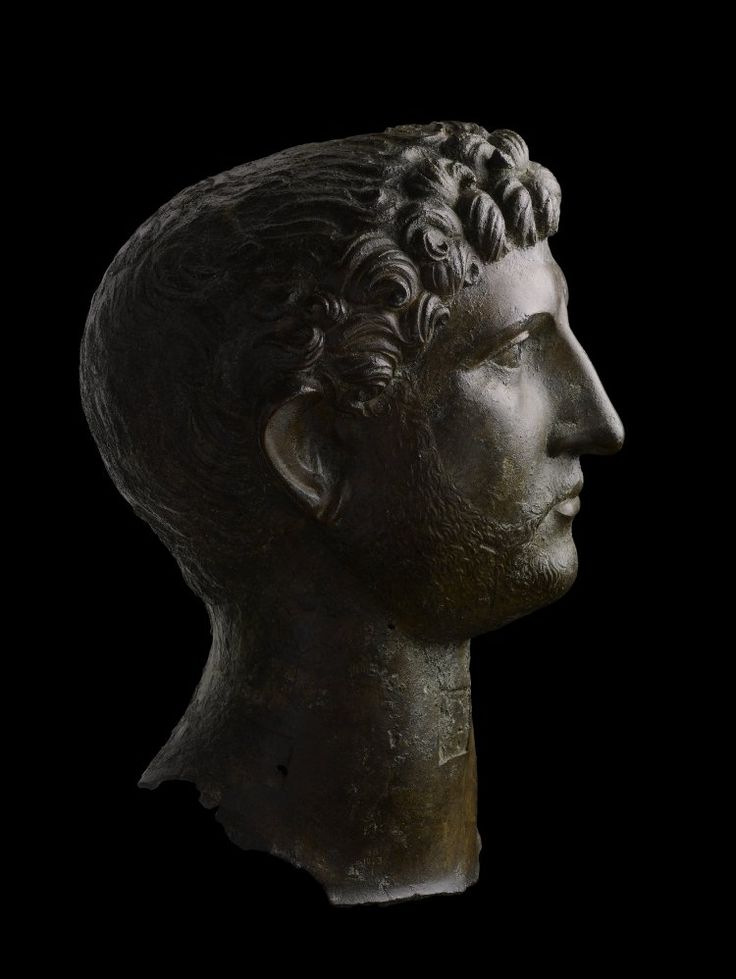 Bronze head of Hadrian, from a larger statue (one and a quarter times…