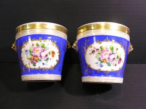 Coppia di cachepot di porcellana VECCHIA PARIGI dipinti a mano, Francia metà'800