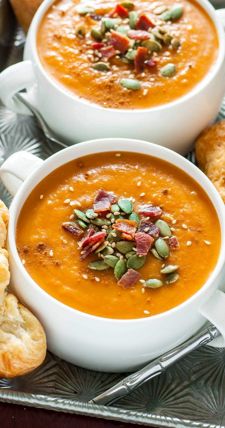 Your crock-pot will do all the work with this Slow Cooker Carrot Butternut Soup recipe! Gluten-free with vegan and vegetarian options. #slowcooker #crockpot #soup