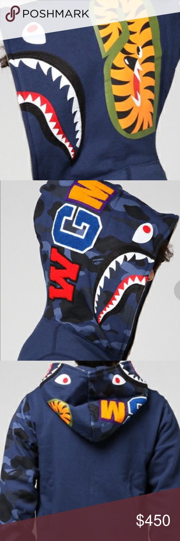 "A Bathing Ape, BAPE, Camo Shark Full Zip Hoodie A lineup that dropped the original camouflage pattern ""COLOR CAMO"" with vivid coloring eye-catching. A popular Shark motif is designed and you can taste the taste of BAPE to its fullest. 100% Authentic, Imported from Japan. Tagged as XL fits like L. A Bathing Ape, BAPE Shirts Sweatshirts & Hoodies"