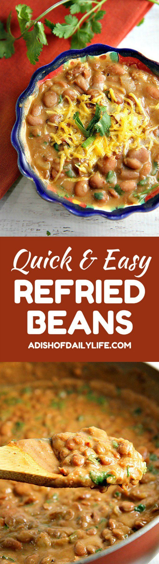 You'll never eat refried beans from a can again after trying this easy homemade refried beans recipe! They only take 15 minutes to make, and they're so versatile...use them as a side dish, as a base for burritos, or in layered bean dip or loaded nachos as well!