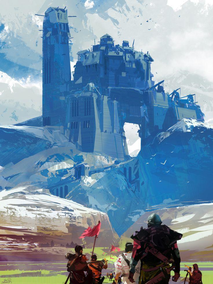 Blue Castle, sparth . on ArtStation at https://www.artstation.com/artwork/EO5OA?utm_campaign=notify&utm_medium=email&utm_source=notifications_mailer