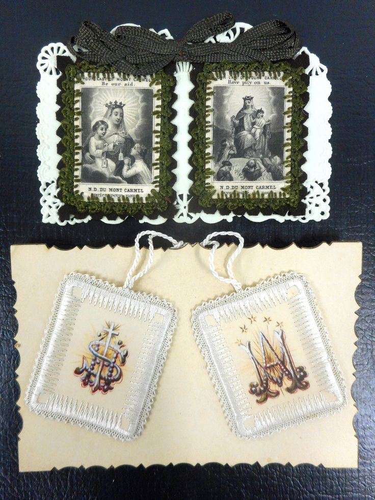 Lot of 4 Antique Hand Painted and Embroidered Necklaces, Silk Square Blocks, Catholic Pilgrimage, Mont Carmel, Gothic Churh Emblems