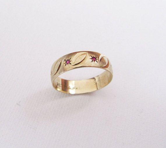 Vintage 9 Carat Pink Gold Eternity Ring Star by BygoneAllure