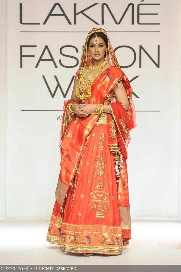 Red lengha by Harshitaa Chatterjee Deshpande at Lakme Fashion Week (LFW) Winter/Festive 2013