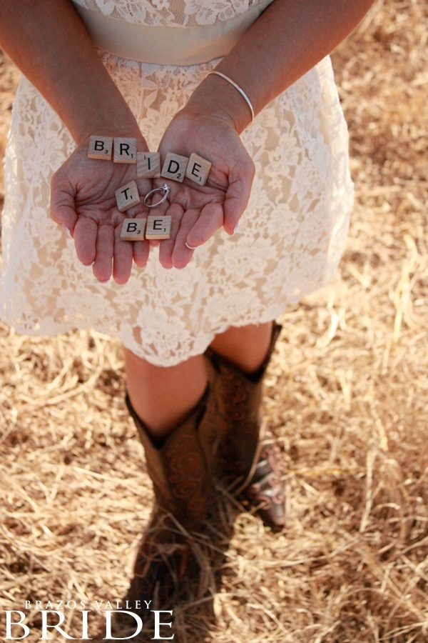 Bride To Be scrabble pieces.  Love this saying for engagement photos