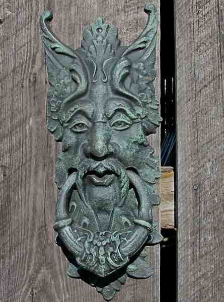 Mystical Green Man will keep a watchful eye at gate or front door while greeting visitors with unique style. Large door knocker or gate keeper retains a timeless appeal, a symbol of spring and rebirth