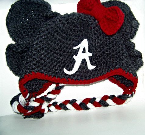 Crochet Alabama Al Elephant Hat Crimson Tide Roll by AWorldCreated, $ ...