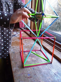 geometrics with straws and pipe cleaners yr 7-8 (math art)