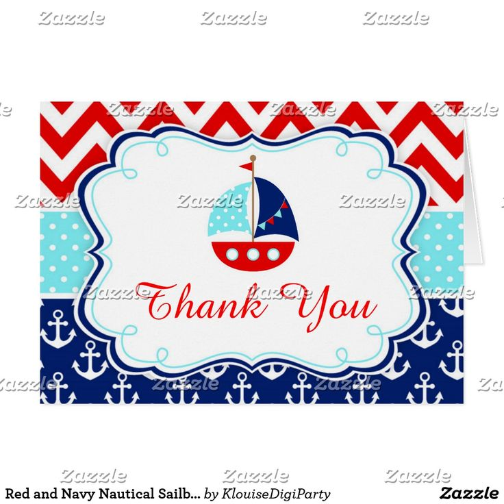 Red and Navy Nautical Sailboat Thank You Card