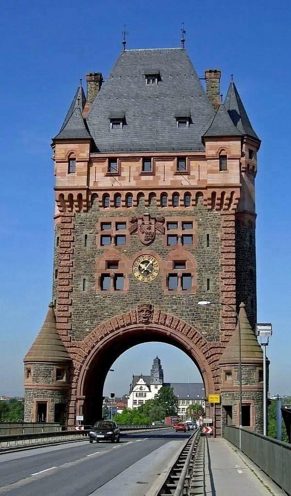 Tower of the Nibelungen Bridge in Worms, Germany