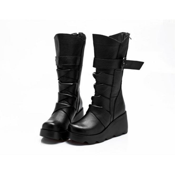 Black Thick Bottom Platform Ankle Boots-Wendybox.com