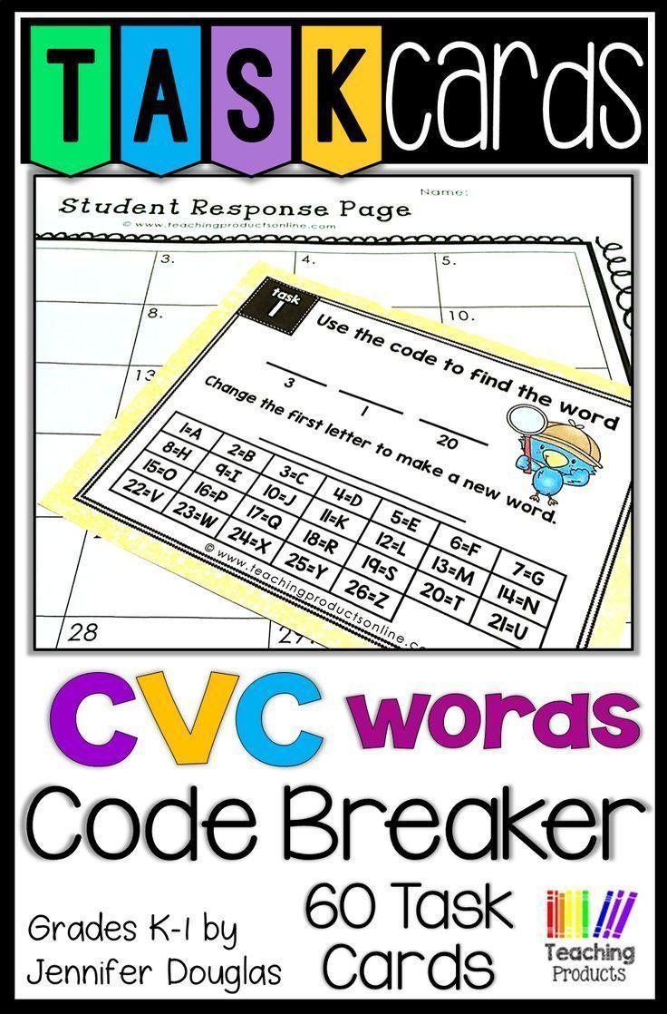 Task Cards Cvc Code Breakers Task Cards Teacher Material Cvc Words