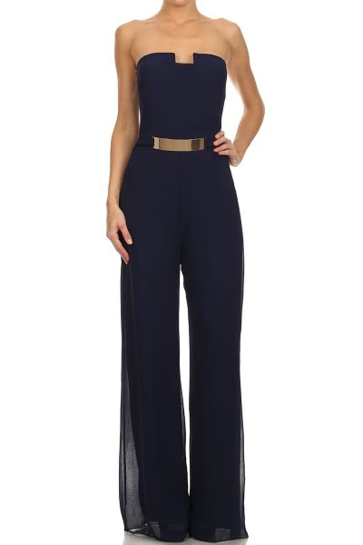 How would you style the Jumpsuit ? Embellish Strapless Full Length Jumpsuit.