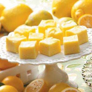 "Lemon fudge. ""It's hard to believe something this melt-in-your-mouth smooth and delicious can be made with so few ingredients in such little time!"""