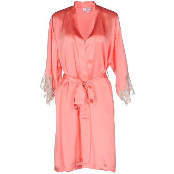 Vivis Dressing Gown ($200) ❤ liked on Polyvore featuring intimates, robes, salmon pink, pink silk robe, pink bathrobe, silk bath robes, silk bathrobe and silk dressing gown