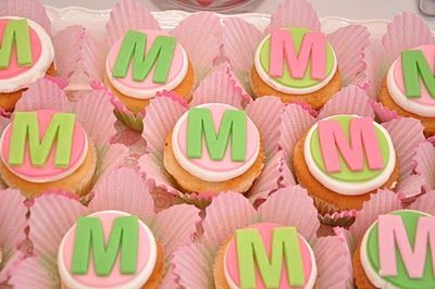 pink and green paisley korean dohl first birthday party celebration dessert table monogram cupcake toppers