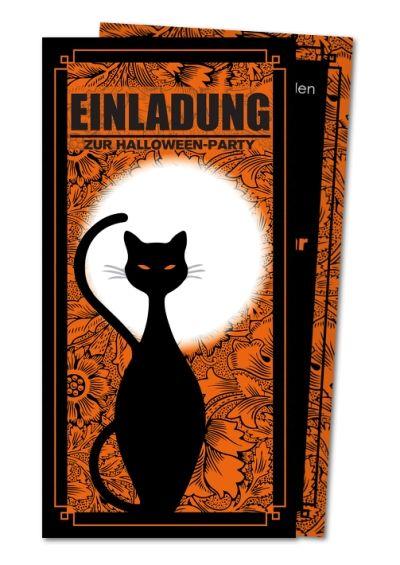 einladung party schwarze katze halloween pinterest schwarze katzen einladungen und party. Black Bedroom Furniture Sets. Home Design Ideas