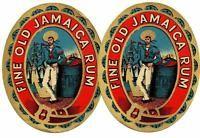 VINTAGE FINE OLD JAMAICA RUM LABELS MULTI COLOUR SUPERB SAILOR and SHIP GRAPHICS
