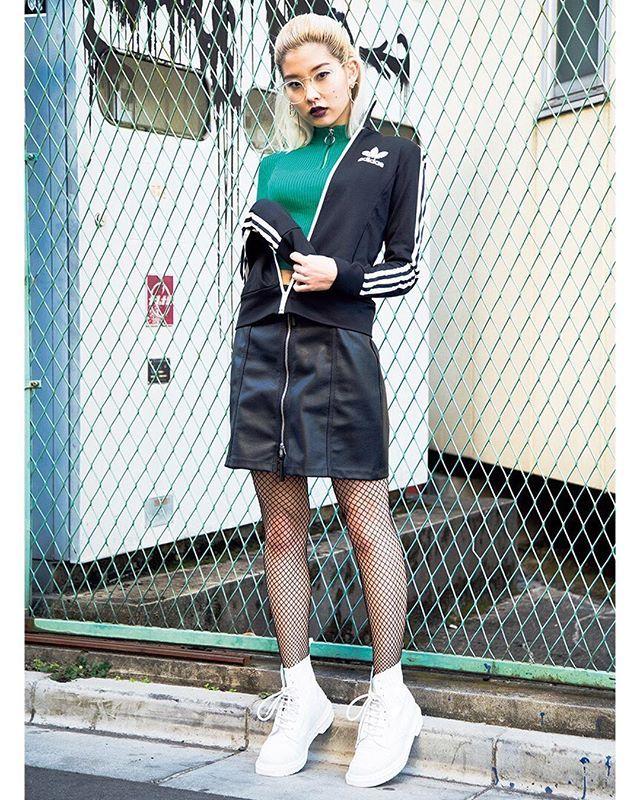 トラックジャケットをメインにしたセットアップ風スタイルブラックレザースカートの組み合わせでレディな印象に April issue P89 ART BABE SNAP model @ayumiteresa outer @adidas tops @hm bottoms @hm sunglasses @bershkacollection shoes @drmartensofficial #nylonjapan #nylonjp #fahsion #art #streetsnap #streetstyle #sportslogo #logoitem #caelumjp  via NYLON JAPAN MAGAZINE OFFICIAL INSTAGRAM - Celebrity  Fashion  Haute Couture  Advertising  Culture  Beauty  Editorial Photography  Magazine Covers  Supermodels  Runway Models