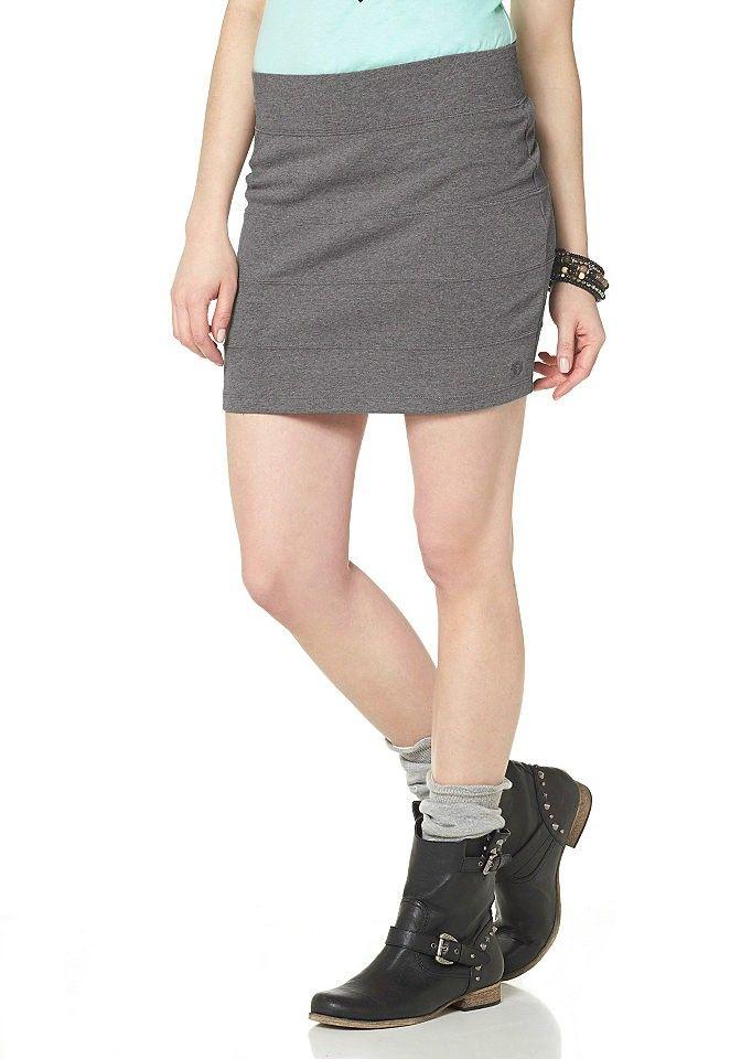 Minigonna marchio Tom Tailor,in cotone con chiusura a zip,colore grigio,con logo ricamato.