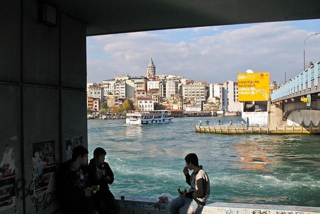 At the Galata Bridge. Istanbul, via Flickr.
