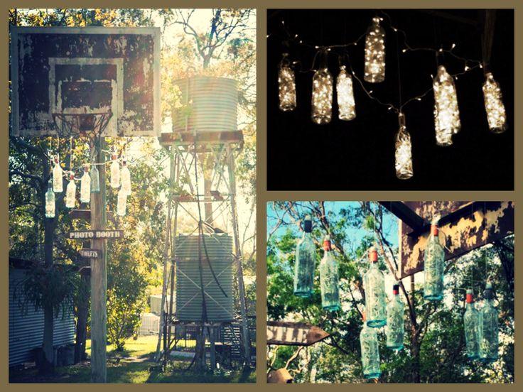 DIY Rustic Backyard Wedding I Outdoor Entertaining I Hanging Wine Bottles