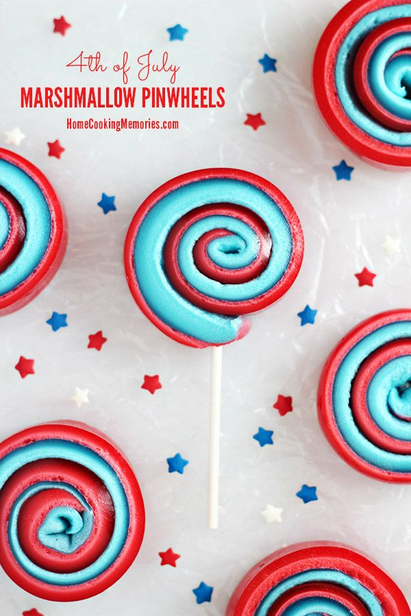 4th of July Marshmallow Pinwheels - a simple & festive sweet treat-on-a-stick that kids will love!
