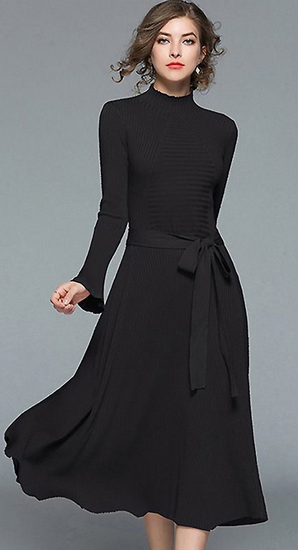 Brief Stand Collar Flare Sleeve Knitted Maxi Dress Fashion