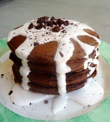 S'Mores Pancakes: Sauces Recipe, Health Food, Marshmallows Sauces, Pancakes Recipe, Breakfast, S More Pancakes, Smore Pancakes, Pancake Recipes, Healthy Desserts