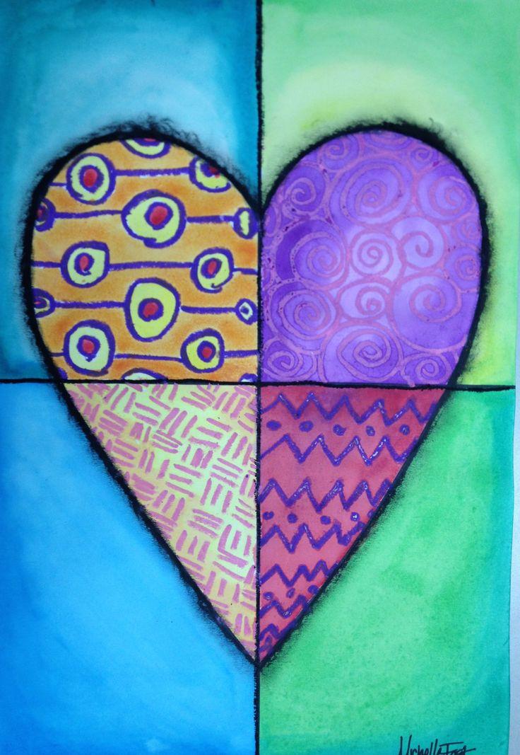 Heart Art Mixed Media Project - Jim Dine  Crayon & Watercolor Resit -my FAVORITE!