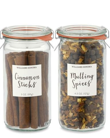 SMELLS SO GOOD! Mulling Spices & Cinnamon Sticks - Williams Sonoma... and I really like the Weck jar it comes in- unique size. ;)