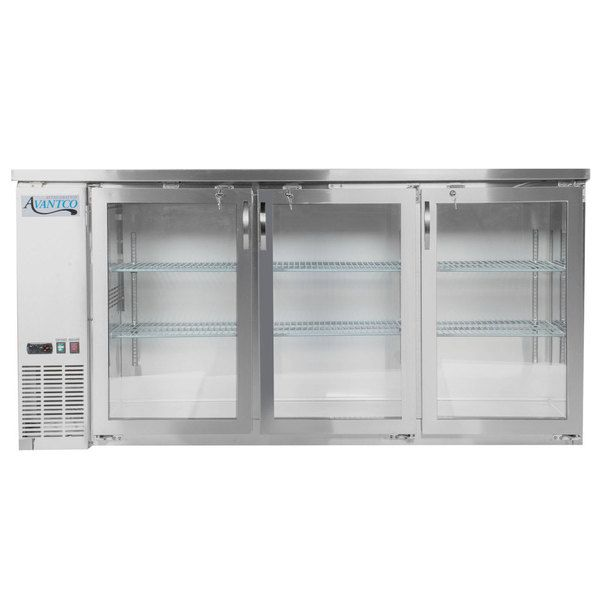 Avantco Ubb 72g Hc S 73 Stainless Steel Counter Height Narrow Glass Door Back Bar Refrigerator With Led Lighting Stainless Steel Counters Bar Refrigerator Back Bar