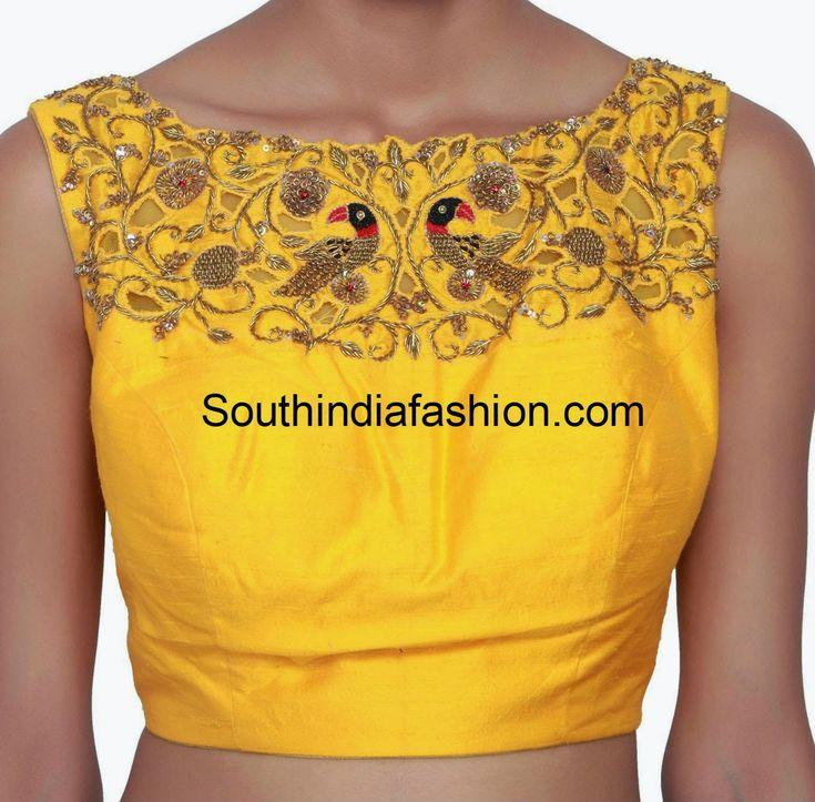 boat neck zardosi work blouse