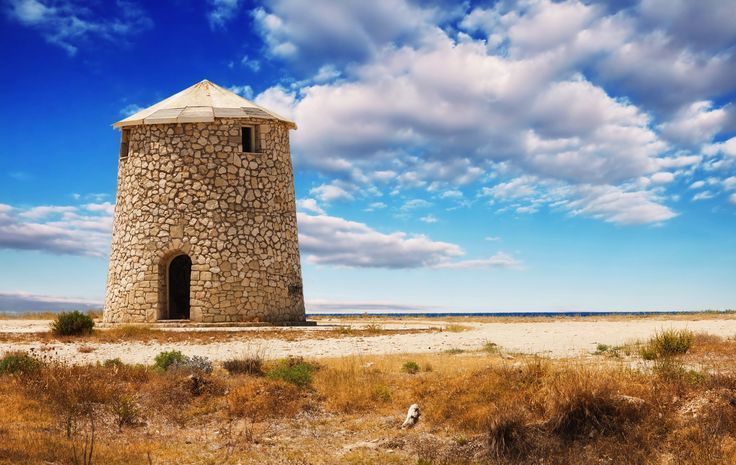 Old windmill on Gyra beach, Lefkada