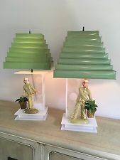 Lucite Moss lamp pair Hedi Schoop Asian figurines venetian blind shades
