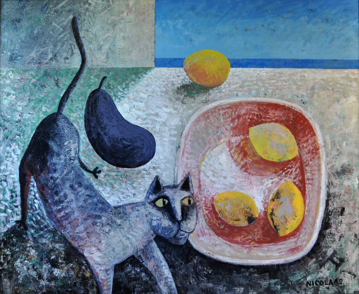 STILL LIFE WITH CAT by Nicolaas Maritz, enamel on board, 2013. From the current exhibition at the Maritz Studio Gallery in Darling, South Africa. Viewing by appointment 078 419 7093