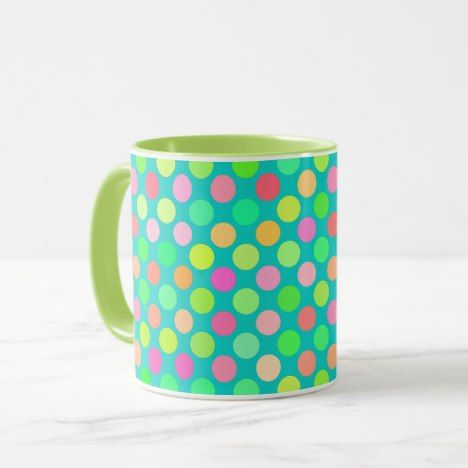 Cute Pink Mint Green Turquoise Polka Dots Pattern Mug #coffee #mug #mugs #muglove #coffeetime #coffeemug #gifts #style #tea