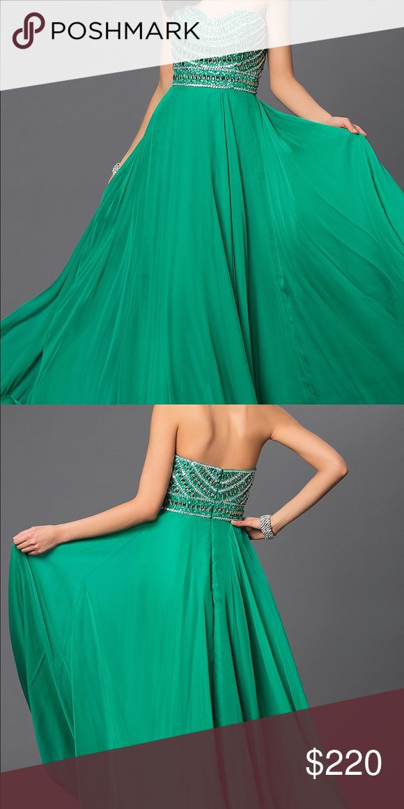 Sherri Hill Emerald Dress Floor length, worn for pictures ONLY. No alterations Sherri Hill Dresses Prom