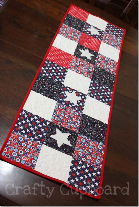 This is a patriotic table runner, but I am thinking the pattern can be adapted to any type of material... maybe fall