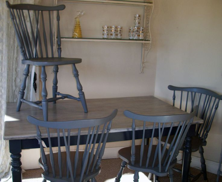 Gray Painted Classic Cottage Shabby Chic Vintage Kitchen Dining Table Aroun