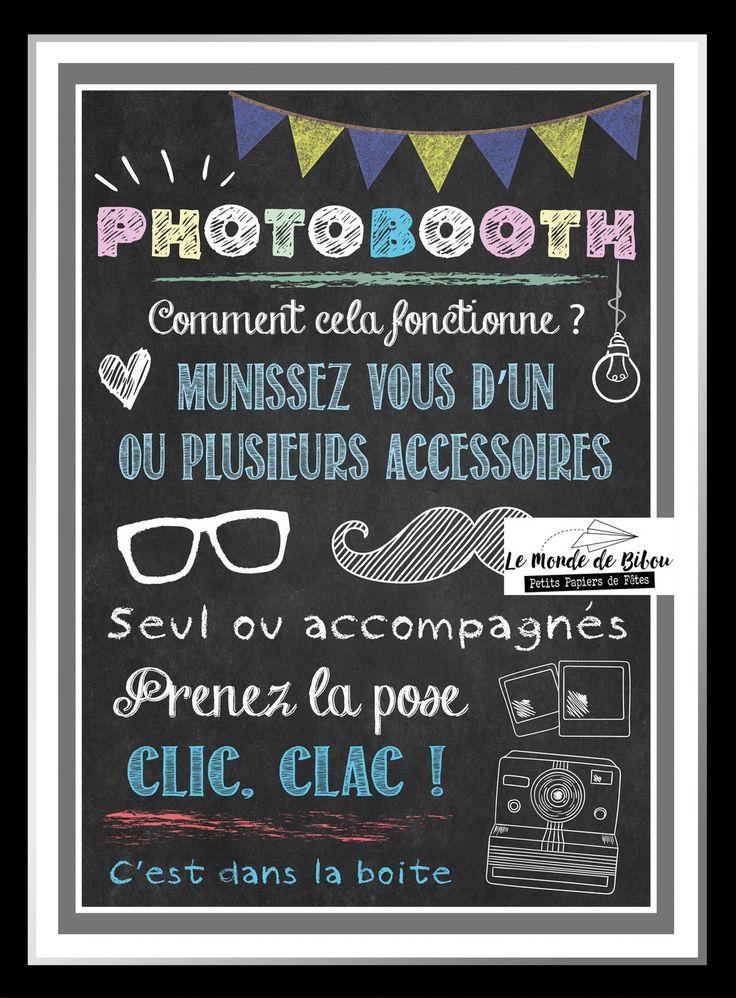 Affiche A4 effet tableau noir notice photobooth