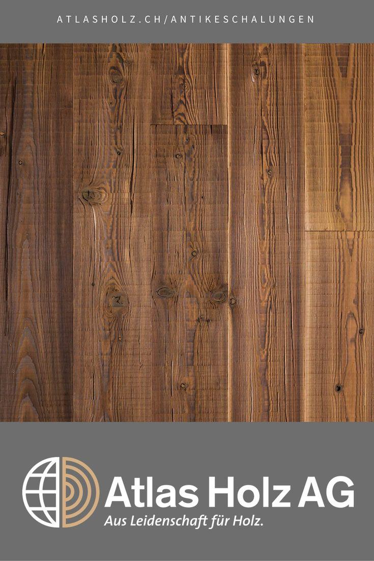 Antike Schalungen Piz Lagrev, heimische Lärche, thermisch behandelt, Bandsägeschnitt mit Rissen / Wall Panels Piz Lagrev, native Larch, heat-treated, band-saw cut and splits
